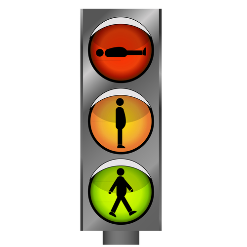 Vector funny traffic lights with man silhouette
